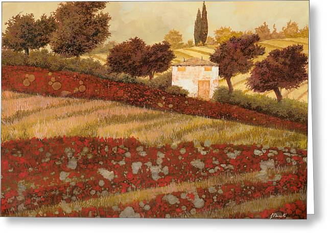 Farm Landscape Greeting Cards - altri papaveri in Toscana Greeting Card by Guido Borelli