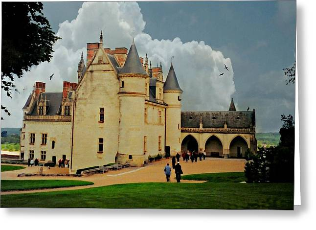 Castle In Valley Greeting Cards - Amboise Castle Greeting Card by Diana Angstadt