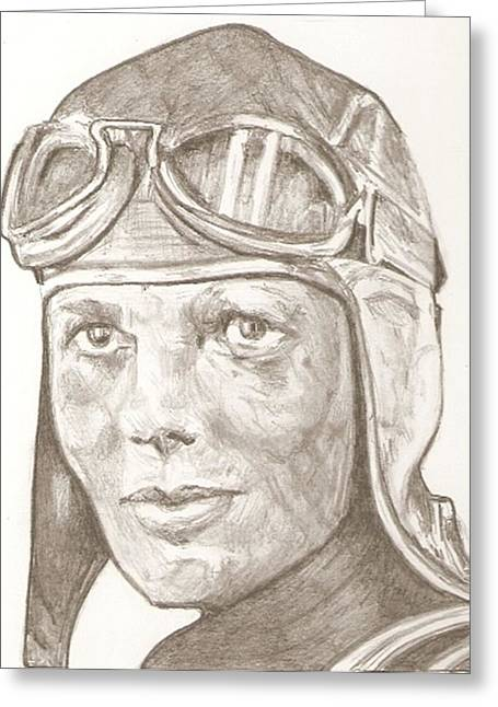 Aviator Drawings Greeting Cards - Amelia Earhart drawing Greeting Card by Robert Crandall