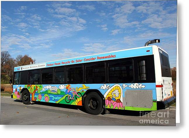 Environment-friendly Greeting Cards - Ameren Missouri and Missouri Botanical Garden Metro Bus Greeting Card by Genevieve Esson