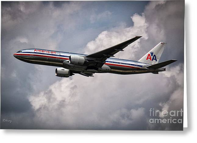 Rene Triay Photography Greeting Cards - American Airlines Boeing 777 Greeting Card by Rene Triay Photography