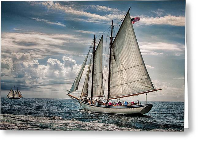 Schooner Greeting Cards - American Eagle Greeting Card by Fred LeBlanc