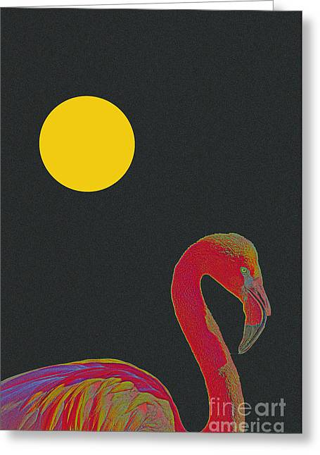 Tropical Beach Mixed Media Greeting Cards - American Pink Flamingo Greeting Card by Celestial Images