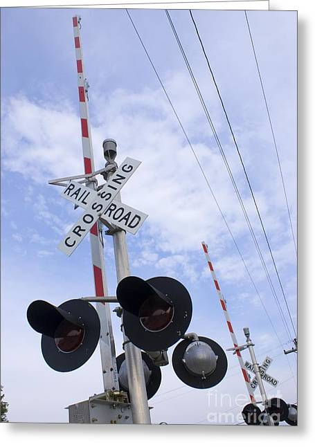Automated Greeting Cards - American Railroad Crossing Greeting Card by Mark Williamson