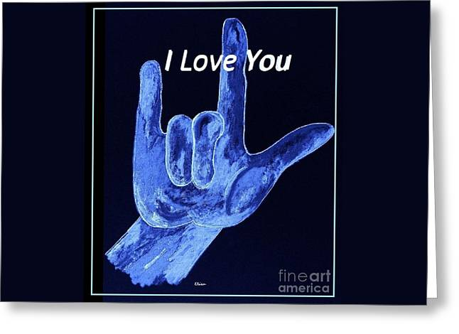 Funky Greeting Cards - American Sign Language I LOVE YOU  Greeting Card by Eloise Schneider