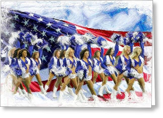Cowboys Cheerleaders Greeting Cards - Americas Sweethearts  Greeting Card by Carrie OBrien Sibley