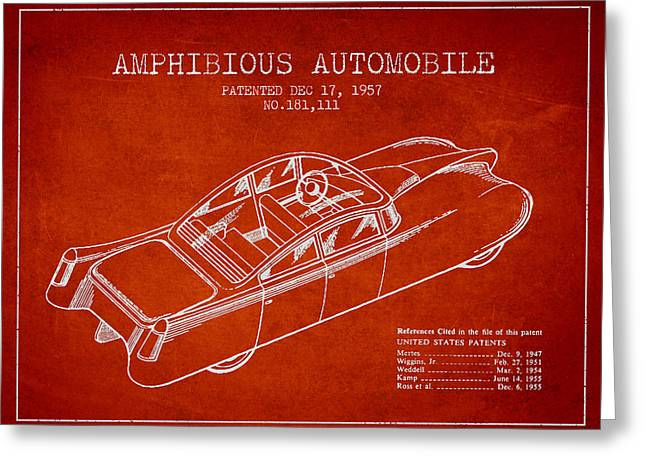 Driving Greeting Cards - Amphibious automobile Patent from 1957 Greeting Card by Aged Pixel