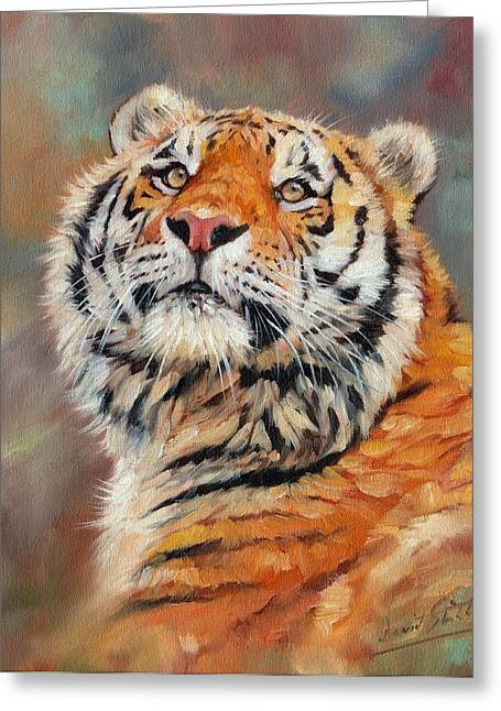 Amur Greeting Cards - Amur Tiger Painting Greeting Card by David Stribbling