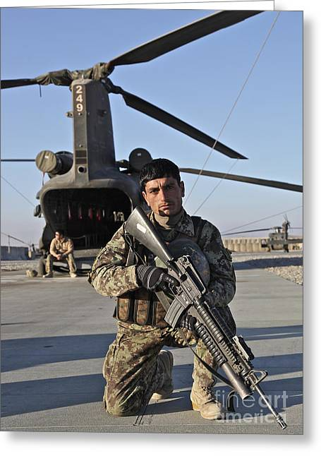 Logar Greeting Cards - An Afghan National Army Soldier Greeting Card by Stocktrek Images