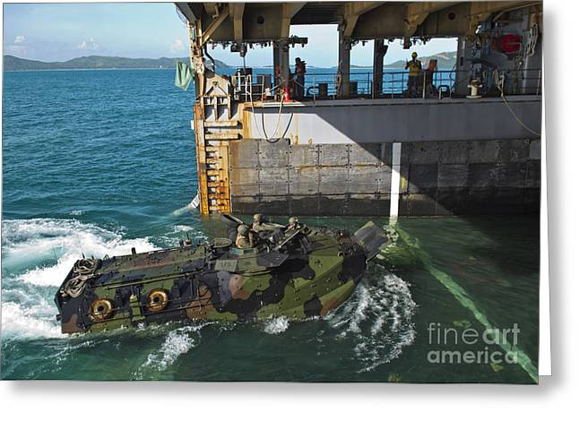 An Amphibious Assault Vehicle Enters Greeting Card by Stocktrek Images