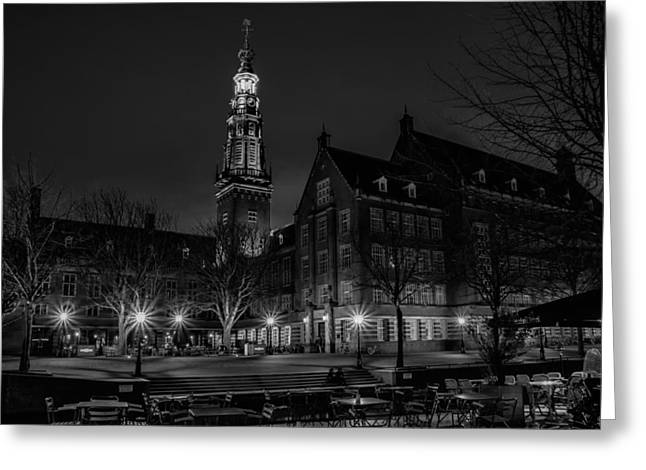 Night Cafe Greeting Cards - An Evening in Leiden Greeting Card by Mountain Dreams