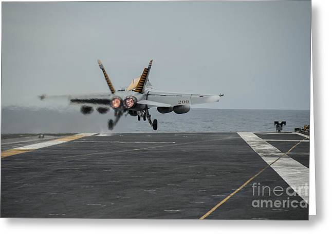 Military Airplanes Greeting Cards - An Fa-18e Super Hornet Takes Greeting Card by Stocktrek Images