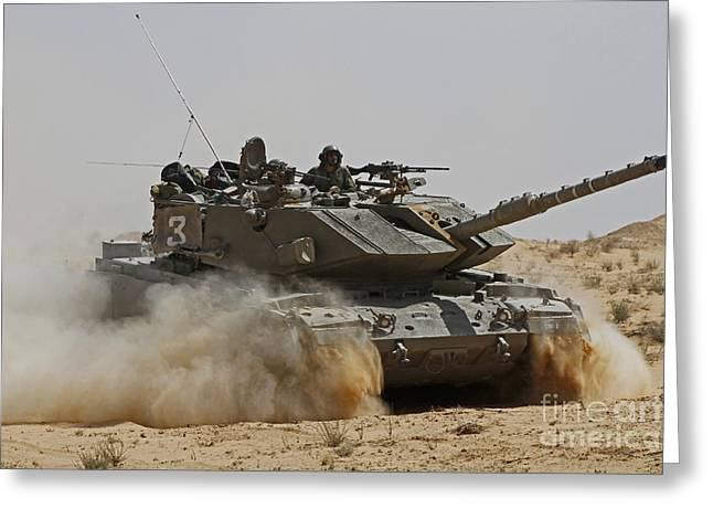 Battletank Greeting Cards - An Israel Defense Force Magach 7 Main Greeting Card by Ofer Zidon