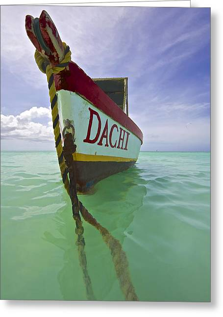 Kite Surfing Greeting Cards - Anchored Colorful Fishing Boat of Aruba II Greeting Card by David Letts