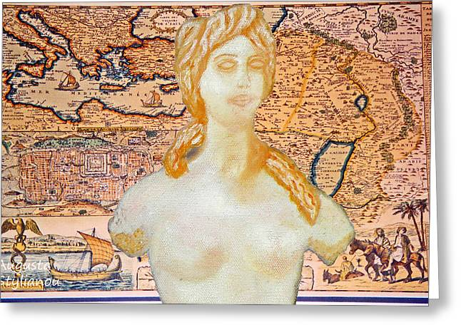 Old Map Digital Art Greeting Cards - Ancient Middle East Map and Aphrodite Greeting Card by Augusta Stylianou
