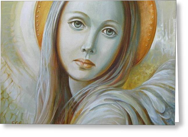 Win Paintings Greeting Cards - Angel Greeting Card by Elena Oleniuc