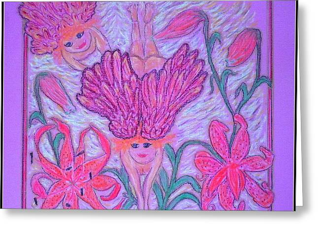 Virgin Mary Pastels Greeting Cards - Angels at Play in Tiger Lilies Greeting Card by Lyn Blore Dufty