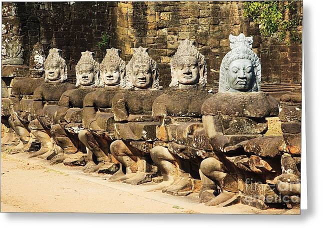 Ancient Ruins Greeting Cards - Angkor Thom Greeting Card by David Davis