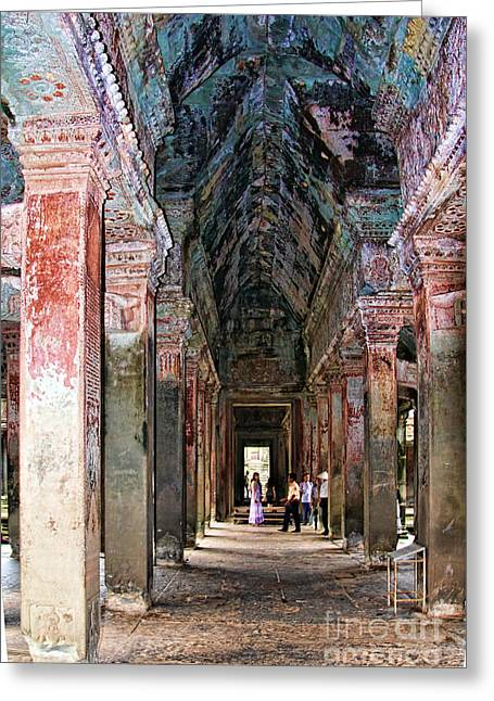 Asien Greeting Cards - Angkor Wat Hallway Greeting Card by Joerg Lingnau