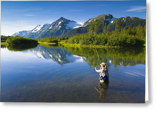 Rainbow Trout Greeting Cards - Angler Flyfishing For Rainbow Trout In Greeting Card by Michael DeYoung