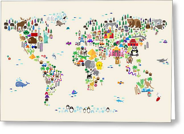 Cartoon Greeting Cards - Animal Map of the World for children and kids Greeting Card by Michael Tompsett