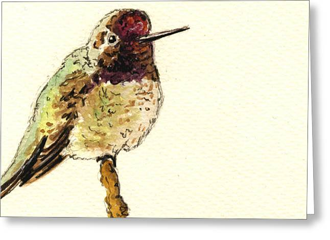 Cute Bird Greeting Cards - Anna s Hummingbird Greeting Card by Juan  Bosco