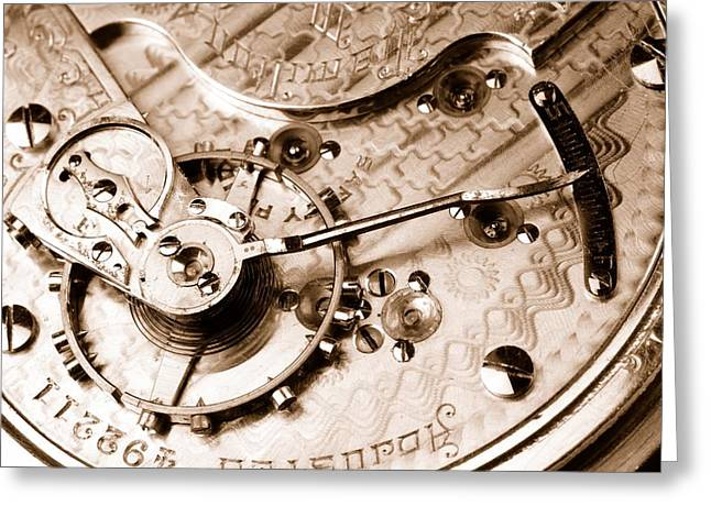 Wheels Photographs Greeting Cards - Antique Pocketwatch  Greeting Card by Jim Hughes