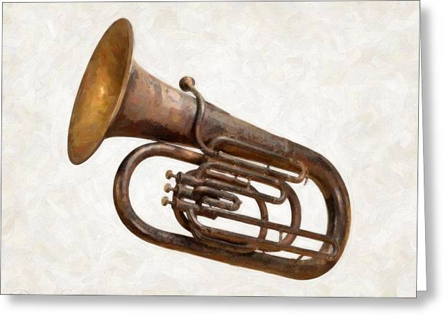 Old Objects Paintings Greeting Cards - Antique Tuba  Greeting Card by Danny Smythe