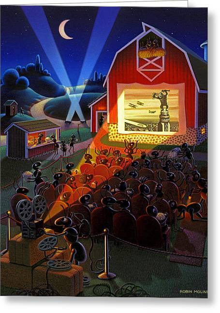 Robin Moline Greeting Cards - Ants at the Movies Greeting Card by Robin Moline