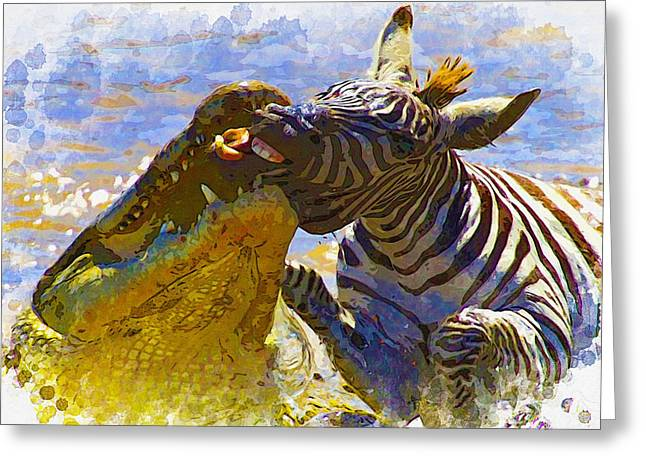 Elephant Seals Digital Greeting Cards - Nile crocodiles attack a zebra Greeting Card by Don Kuing
