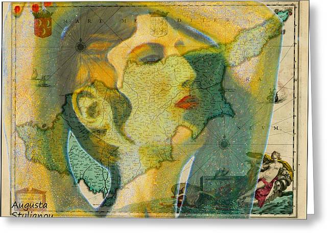 Old Map Digital Greeting Cards - Aphrodite and Ancient Cyprus Map Greeting Card by Augusta Stylianou