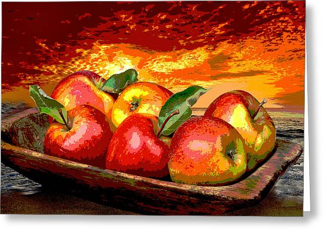Apple Art Greeting Cards - Apples Pop-Art Greeting Card by Manfred Lutzius