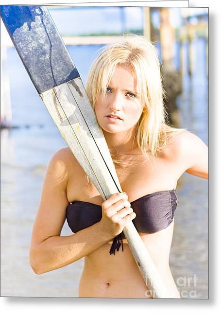 Aquatic Sportswoman  Greeting Card by Jorgo Photography - Wall Art Gallery