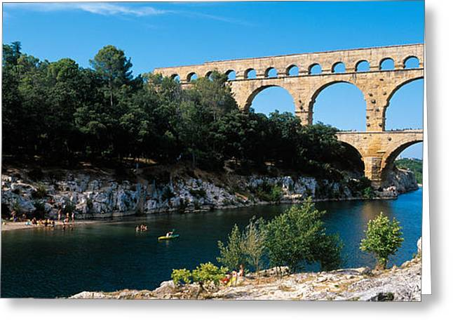 Civilization Greeting Cards - Aqueduct Across A River, Pont Du Gard Greeting Card by Panoramic Images