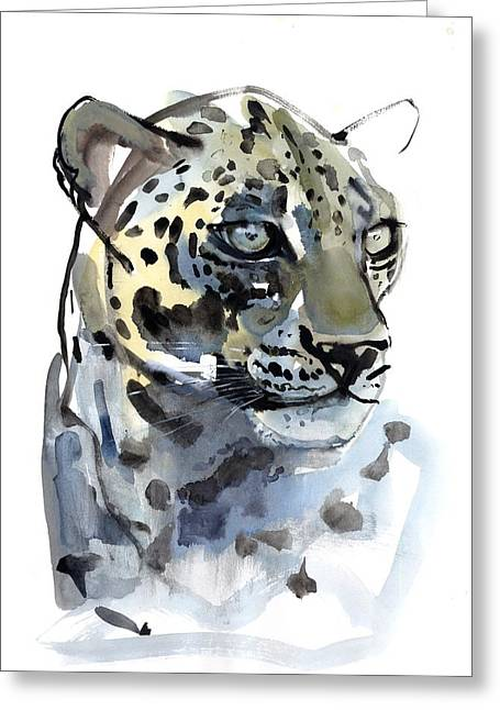 Watercolor On Paper Greeting Cards - Arabian Leopard Greeting Card by Mark Adlington