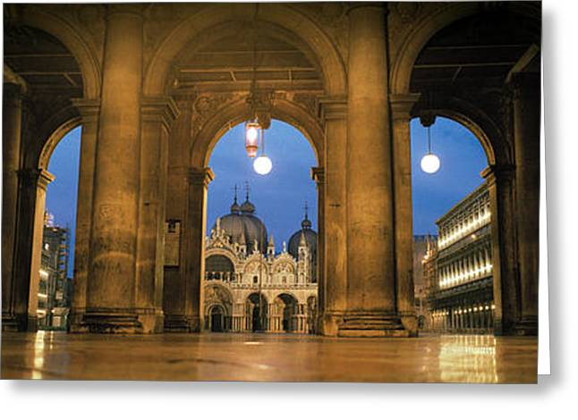 Arcade Of A Building, St. Marks Square Greeting Card by Panoramic Images