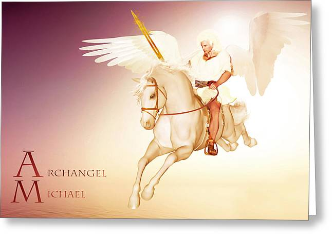 Kelly Mixed Media Greeting Cards - Archangel Michael Greeting Card by Valerie Anne Kelly