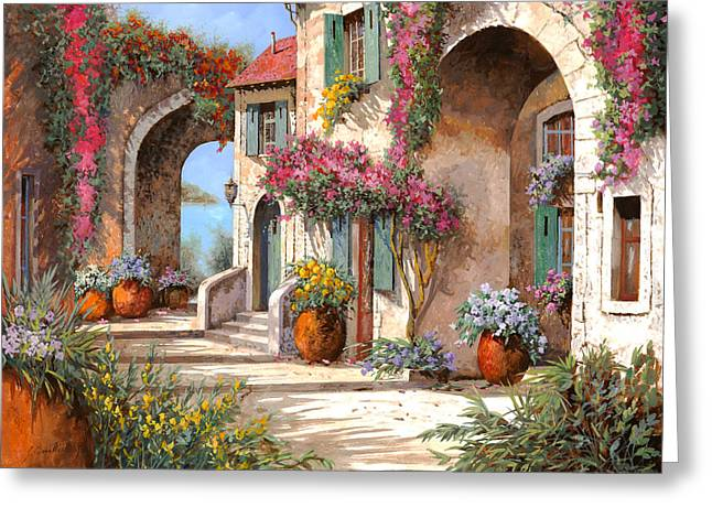 Arches Greeting Cards - Archi E Fiori Greeting Card by Guido Borelli