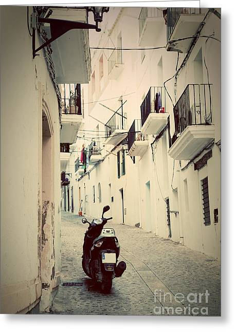 Ibiza Greeting Cards - Architecture of old city of Ibiza Spain Greeting Card by Michal Bednarek