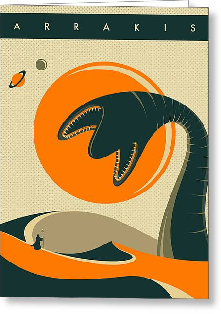 Dunes Greeting Cards - Arrakis Travel Poster  Greeting Card by Jazzberry Blue