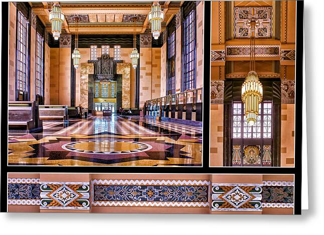 Brown Toned Art Greeting Cards - Art Deco Durham Triptych #2 Greeting Card by Nikolyn McDonald