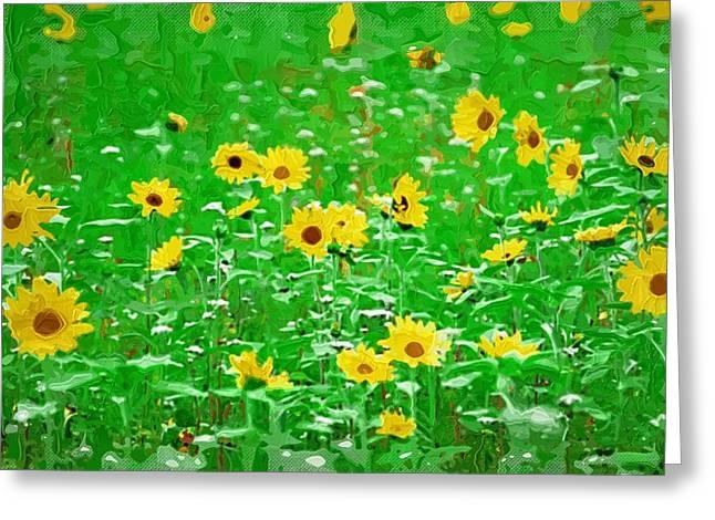 Printables Greeting Cards - Art print Flowers Greeting Card by Victor Gladkiy