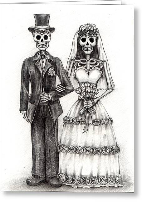 Apparel Drawings Greeting Cards - Art skull day of the dead. Greeting Card by Praphavit Premtha