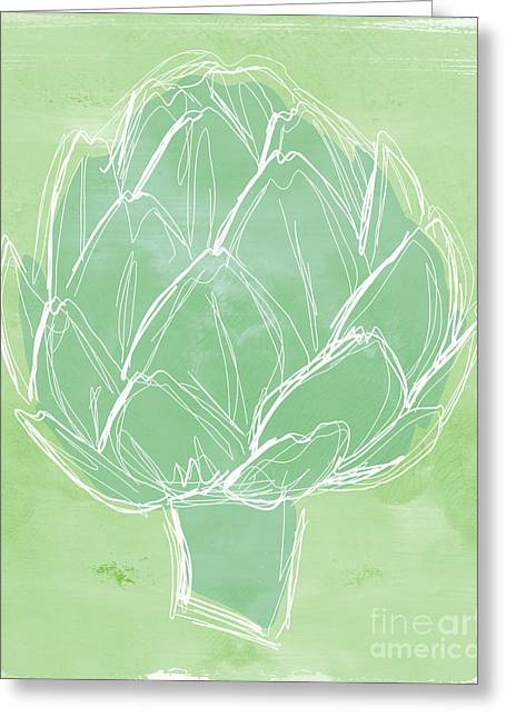 Commercials Mixed Media Greeting Cards - Artichoke Greeting Card by Linda Woods