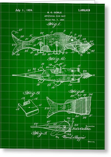 Fish Digital Art Greeting Cards - Artificial Bait Patent 1923 - Green Greeting Card by Stephen Younts