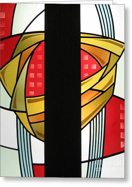 Warm Glass Art Greeting Cards - Arts and Crafts Abstract Greeting Card by Gilroy Stained Glass