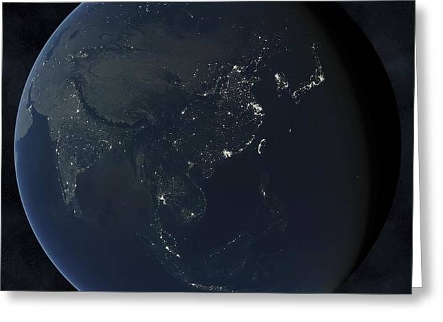 Planet Earth Greeting Cards - Asia at night Greeting Card by Science Photo Library