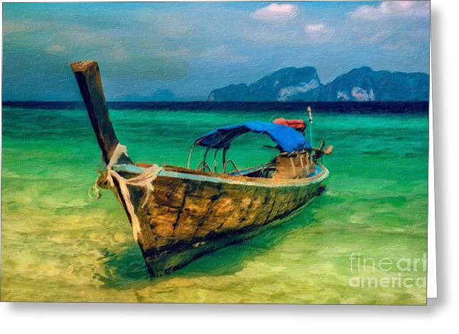 Longboat Greeting Cards - Asian Longboat Greeting Card by Adrian Evans