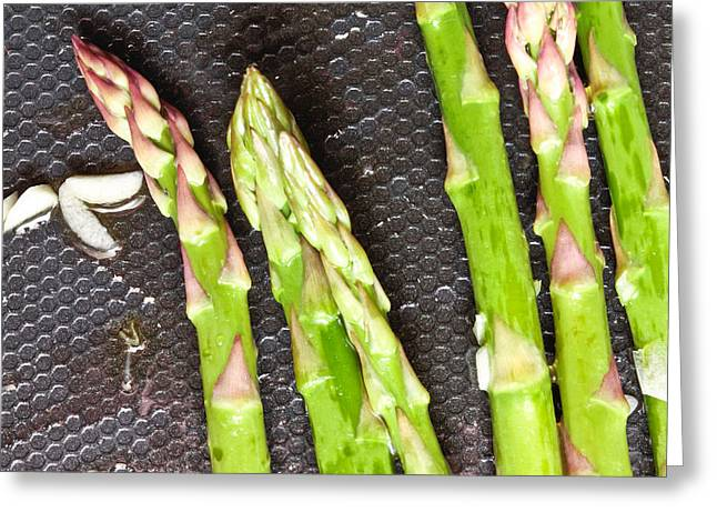 Olive Greeting Cards - Asparagus Greeting Card by Tom Gowanlock