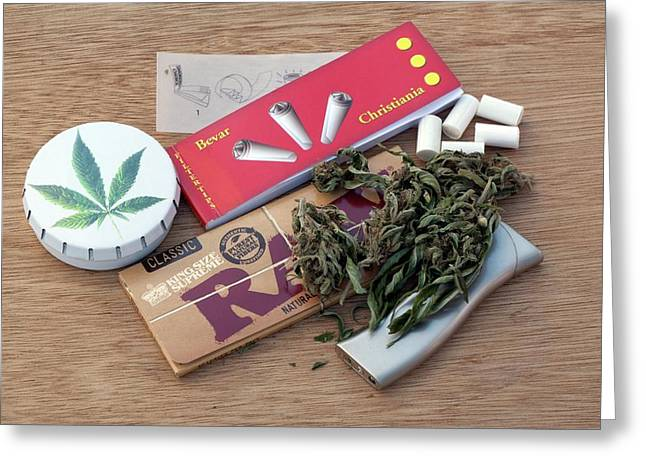 Assorted Cannabis Products Greeting Card by Adam Hart-davis